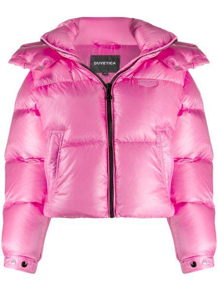 Куртка с капюшоном длинная розовая Duvetica