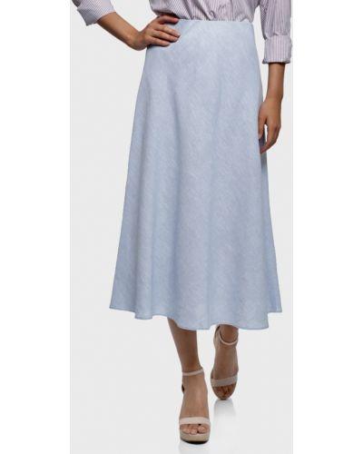 Голубая льняная юбка Oodji