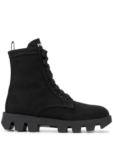 Черные сапоги на шнуровке из плотной ткани Prada