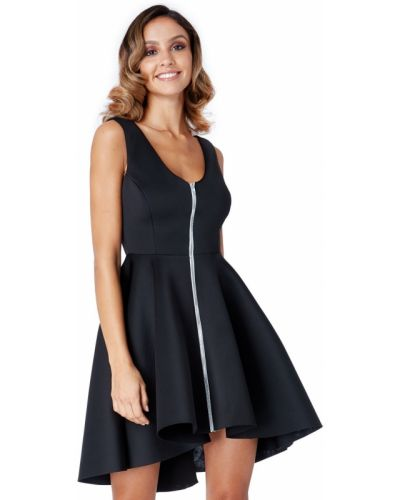 Расклешенное черное вечернее платье без рукавов City Goddess