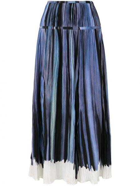 Синяя с завышенной талией юбка миди в полоску Altuzarra