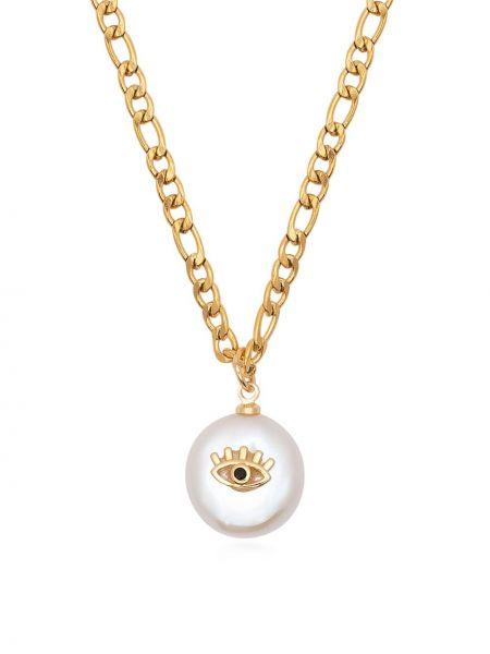 Желтое ожерелье с подвесками позолоченное с жемчугом Nialaya Jewelry