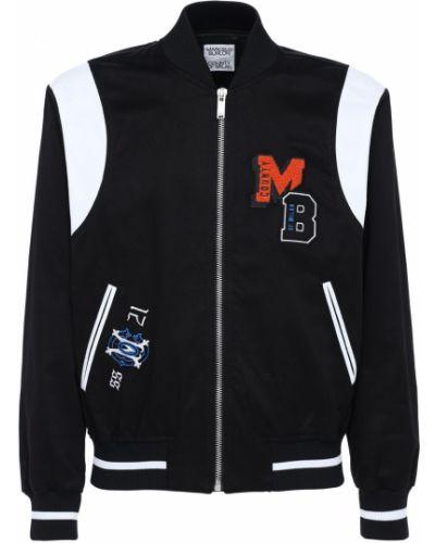 Czarna kurtka z haftem bawełniana Marcelo Burlon County Of Milan