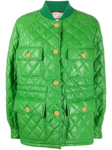 Зеленая прямая стеганая куртка на пуговицах с воротником Gucci