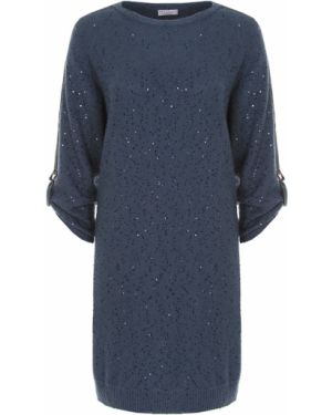Повседневное платье с пайетками шелковое Brunello Cucinelli