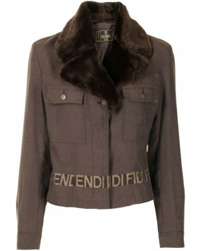 Коричневая куртка с поясом Fendi Pre-owned