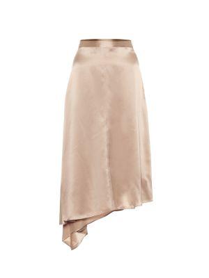 Бежевая сатиновая юбка миди Joseph