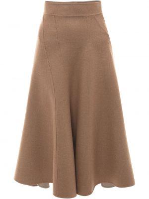 Spódnica rozkloszowana elegancka - brązowa Jw Anderson