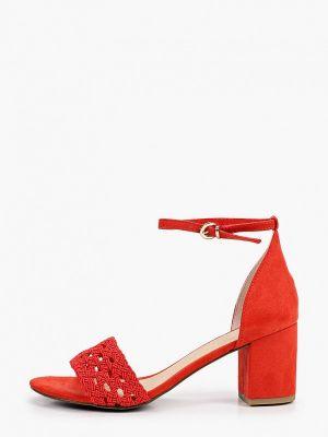 Текстильные красные босоножки Marco Tozzi