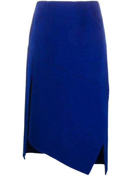 Кашемировая синяя асимметричная юбка с поясом Odeeh