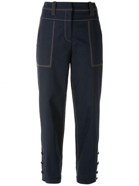 Хлопковые синие брюки с карманами Martha Medeiros