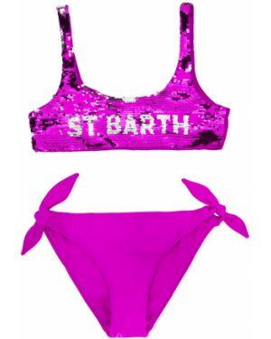 Фиолетовый купальник с вышивкой без рукавов Mc2 Saint Barth