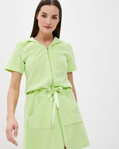 Зеленый домашний махровый халат Laete