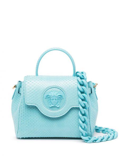 Синяя кожаная косметичка Versace