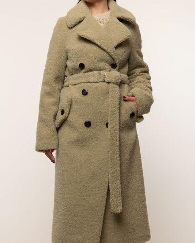 Бежевое шерстяное пальто с воротником Aliance Fur