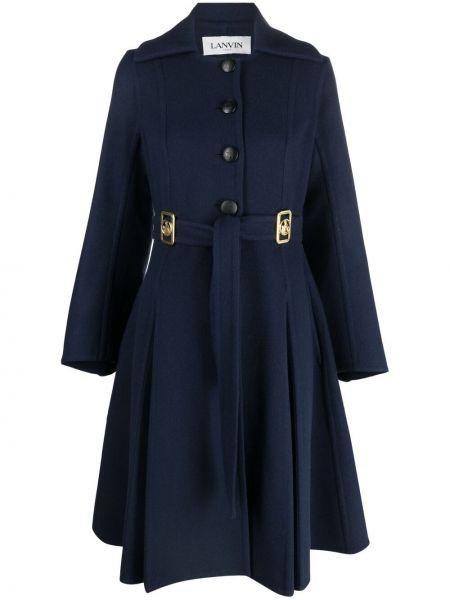Синее кашемировое длинное пальто с воротником Lanvin