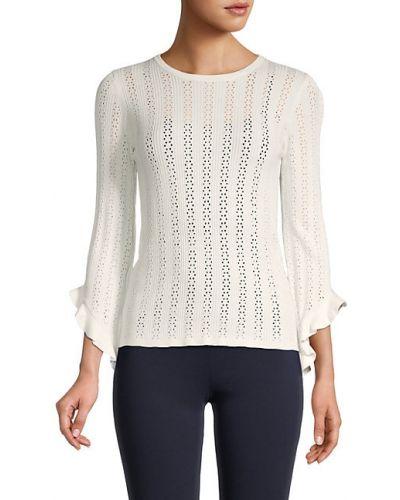 Свободный белый длинный свитер из вискозы T-tahari