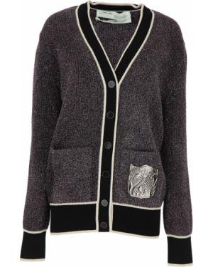 Czarny sweter oversize zapinane na guziki Off-white C/o Virgil Abloh