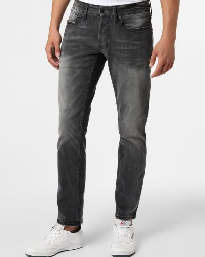 Czarne jeansy zapinane na guziki Denham