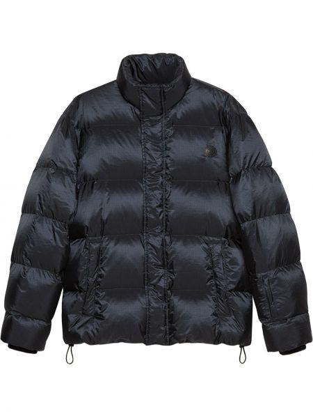 С рукавами синяя кожаная длинная куртка Gucci