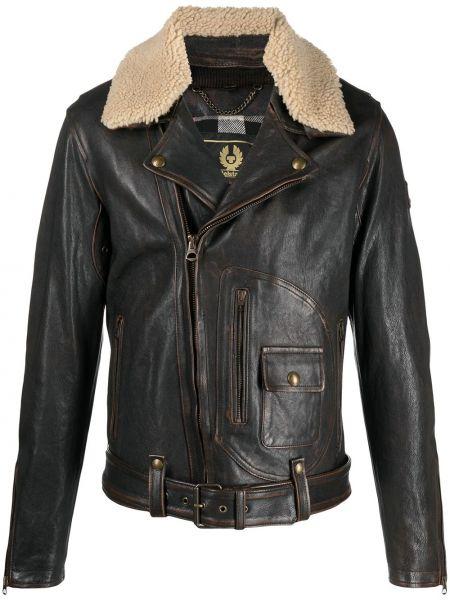 Brązowy bawełna skórzany długa kurtka Belstaff