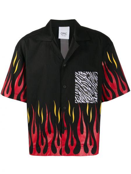 Czarna koszula krótki rękaw bawełniana Omc