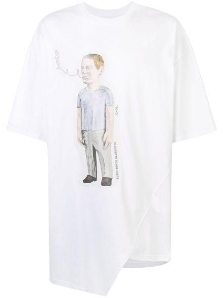 Biały t-shirt bawełniany asymetryczny Bmuet(te)