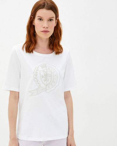 С рукавами белая футболка Tommy Hilfiger