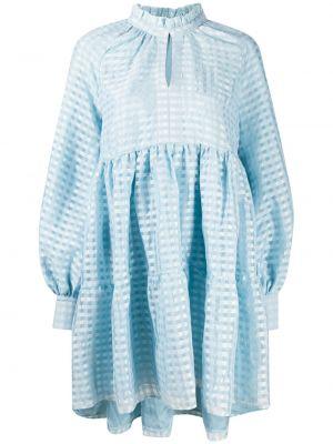 Синее платье с оборками на пуговицах с вырезом Stine Goya