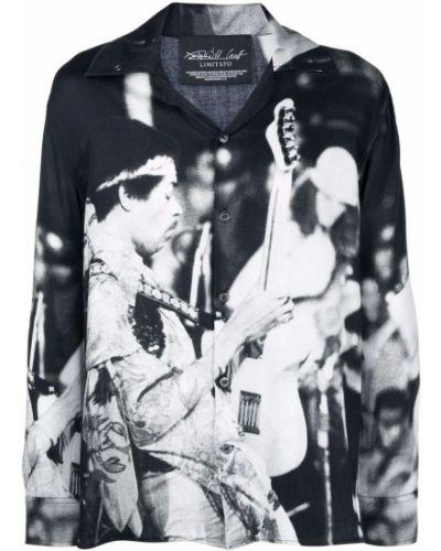 Czarna koszula z długimi rękawami z wiskozy Limitato