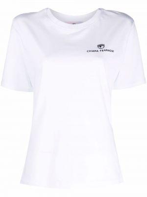 Белая футболка с вышивкой Chiara Ferragni
