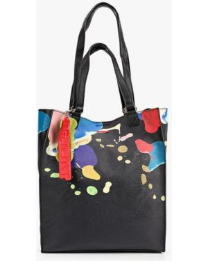 Кожаная сумка шоппер черная Desigual