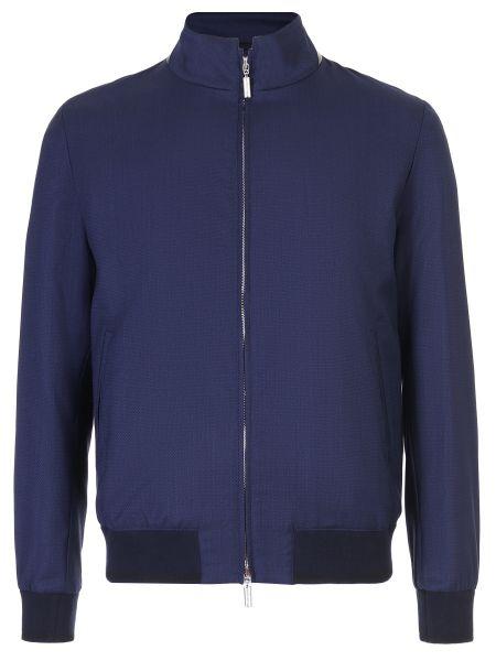 Синяя кожаная куртка с поясом на молнии с манжетами Castangia