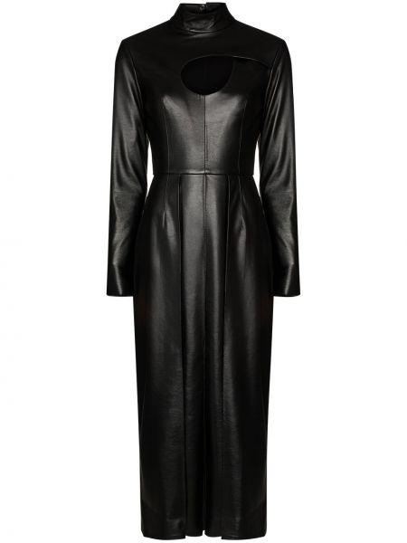 Однобортное кожаное платье миди с длинными рукавами с вырезом Matériel