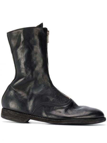 Czarny buty skórzane okrągły z prawdziwej skóry okrągły nos Guidi