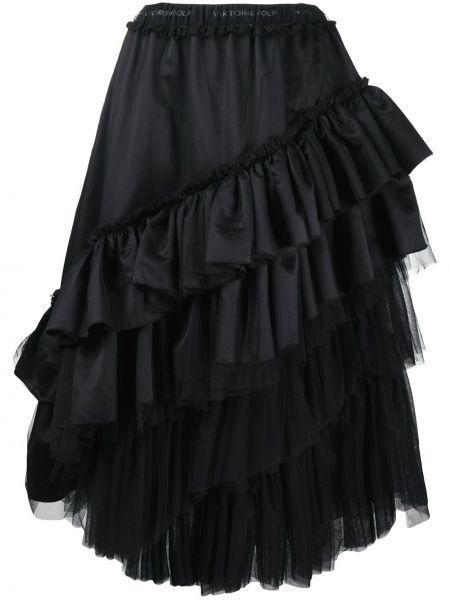 Czarny rozbłysnął z wysokim stanem spódnica z tiulu Viktor & Rolf