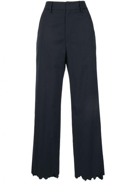Niebieskie spodnie wełniane z paskiem Ader Error