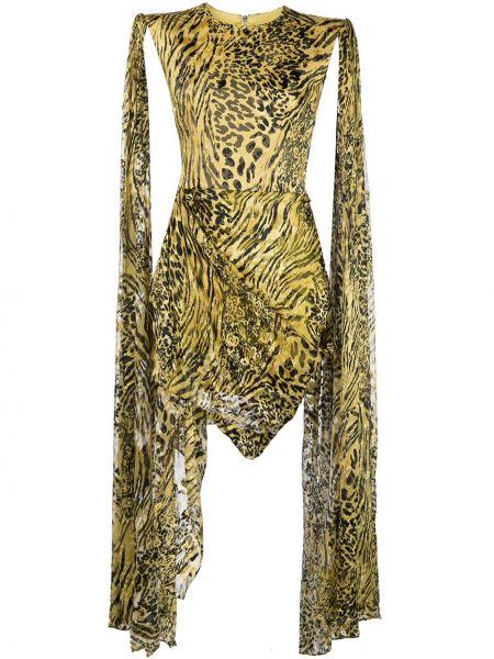 Шелковое платье мини - желтое Alex Perry