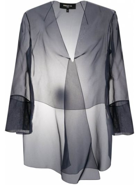 С рукавами шелковый синий удлиненный пиджак без застежки Paule Ka