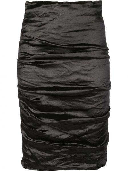 Prążkowana czarna spódnica midi z falbanami Nicole Miller