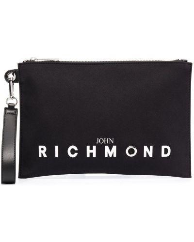 Черный клатч на молнии прямоугольный John Richmond