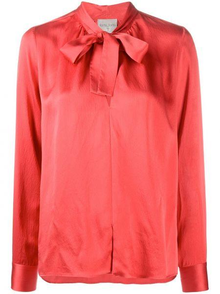 Красная шелковая блузка с бантом Forte Forte