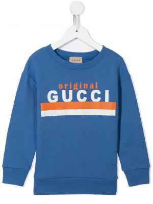 Niebieska bluza bawełniana Gucci Kids