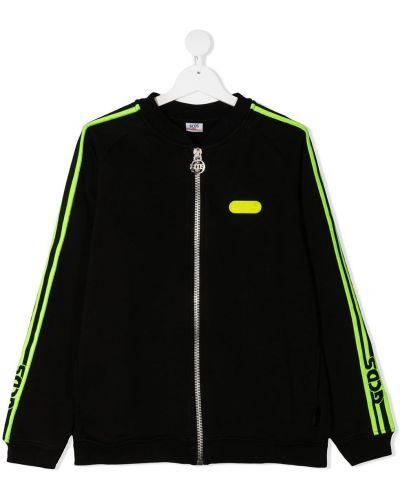Ватная черная длинная куртка с нашивками Gcds Kids
