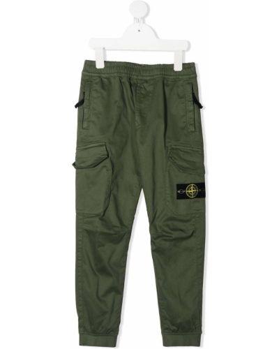 Хлопковые зеленые брюки карго стрейч Stone Island Junior
