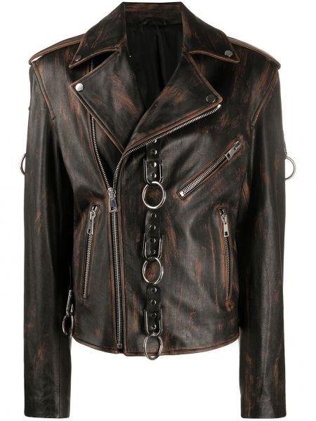 Черный кожаный пиджак на молнии Manokhi
