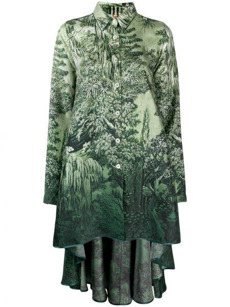 Zielona sukienka mini rozkloszowana z długimi rękawami F.r.s For Restless Sleepers