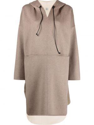 Кашемировое длинное пальто оверсайз с капюшоном Toteme