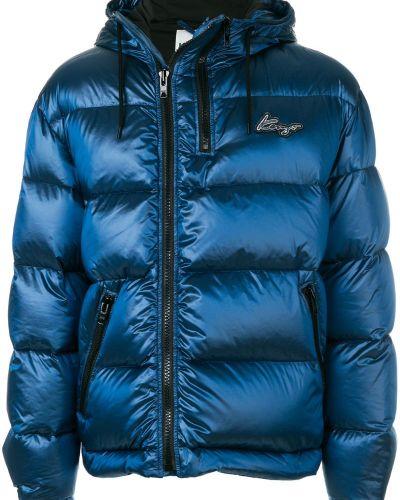 Длинное пальто с капюшоном на молнии из полиэстера Kenzo
