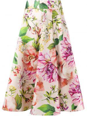 Розовая расклешенная шелковая юбка миди Dolce & Gabbana